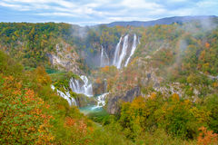 Waterfall the Plitvice Lakes in autumn Stock Photos