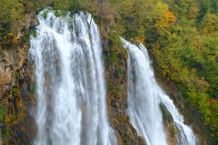 Waterfall the Plitvice Lakes in autumn Royalty Free Stock Photography