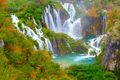 Waterfall the Plitvice Lakes Stock Image