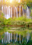 Waterfall the Plitvice Lakes Stock Photography