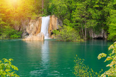 Waterfall the Plitvice Lakes Stock Images