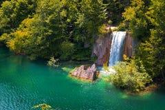 Waterfall in Plitvice lakes in Croatia. View of the waterfall at National park Plitvice lakes in Croatia Stock Photos