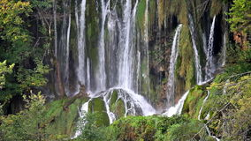 Waterfall in Plitvice Lakes National Park in Croatia stock video