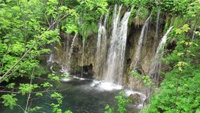 Waterfall in Plitvice National Park stock video footage