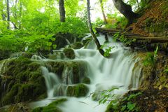 Waterfall in Plitvice stock image