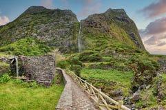 Waterfall Poco do Bacalhau - Azores island of Flores