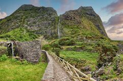 Free Waterfall Poco Do Bacalhau - Azores Island Of Flores Royalty Free Stock Image - 178146456