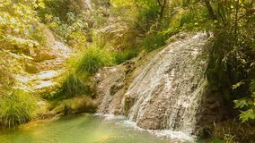 Waterfall at Polilimnio in Greece. A touristic destination. stock video footage