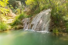 Waterfall at Polilimnio in Peloponnese. A famous touristic destination. Waterfall at Polilimnio in Peloponnese. A famous touristic destination Stock Photography