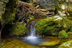 Waterfall and pond. Details of small waterfall and pool in countryside Royalty Free Stock Image