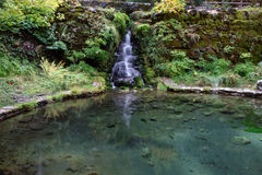 Waterfall and pond. Small waterfall feeding a clear pond Royalty Free Stock Photo