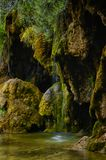 Waterfall and pond in the forest Stock Photos