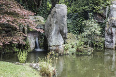 Waterfall and pool in Japanese Garden Stock Images