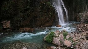 Waterfall into pool stock footage