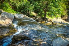 Waterfall with pool in tropical jungle, Na Muang, Royalty Free Stock Photos