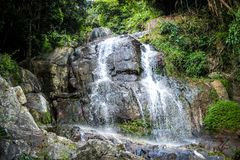 Waterfall with pool in tropical jungle, Na Muang, Stock Images