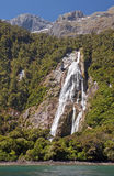 Waterfall at the port Mildford Sound Royalty Free Stock Images