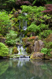 Cascading waterfall in japanese garden at portland Royalty Free Stock Images
