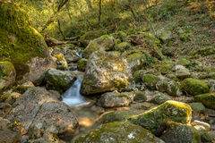 Waterfall in the portuguese national park of Geres. In the north of the country royalty free stock photo