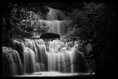 Waterfall. Purakuanui Falls, Otago, NZ. Long exposure, milky water effect Stock Photography