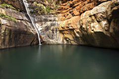 Waterfall and quiet pool of water Royalty Free Stock Photo