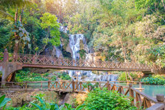 Waterfall in rain forest (Tat Kuang Si at Luang prabang.) Royalty Free Stock Photo