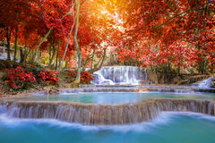 Waterfall in rain forest ( Tat Kuang Si Waterfalls at Luang prab Stock Photo