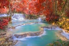 Waterfall in rain forest (Tat Kuang Si Waterfalls at Luang praba Royalty Free Stock Image
