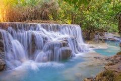 Waterfall in rain forest (Tat Kuang Si Waterfalls at Luang praba Royalty Free Stock Photo