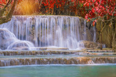 Waterfall in rain forest (Tat Kuang Si Waterfalls at Luang praba Stock Images