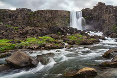Waterfall. In the rain in Iceland Royalty Free Stock Photos