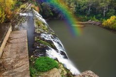 Waterfall and rainbow Stock Photo