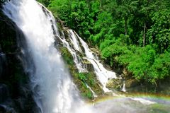 Waterfall With Rainbow Stock Photos
