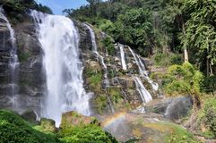 Waterfall with Rainbow. Wachirathan waterfall in doi-inthanon national park , chiangmai Thailand Royalty Free Stock Images