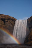 Waterfall with a rainbow, Iceland Stock Photography