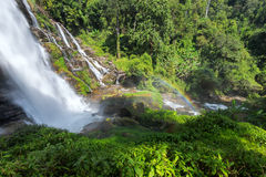 Waterfall with rainbow. Incredible waterfall spring time wachila chiang mai thailand Royalty Free Stock Photo