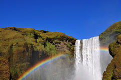 Waterfall and rainbow, Skogafoss Iceland Stock Photos