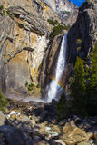 Waterfall Rainbow. Vertical Composition of Rainbow at Bottom of Lower Yosemite Falls Royalty Free Stock Image