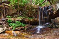 Waterfall in the rainforest. Cambodia Royalty Free Stock Photo