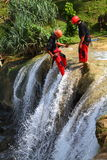Waterfall Rapelling Sport Royalty Free Stock Photo
