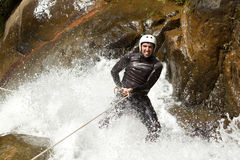 Waterfall Rappelling On Canyoning Adventure Stock Images