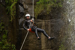 Waterfall Rappelling On Canyoning Adventure Stock Image