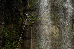 Waterfall Rappelling On Canyoning Adventure Royalty Free Stock Images