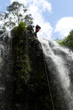Waterfall Rappelling On Canyoning Adventure Royalty Free Stock Photos