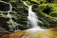 Waterfall from ravine. Valley of river Doubrava, Czech Republic Stock Images