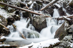 Waterfall from ravine in winter, long exposure Stock Images