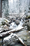 Waterfall from ravine in winter, long exposure Royalty Free Stock Photography