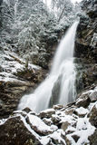 Waterfall from ravine in winter, long exposure Royalty Free Stock Photos