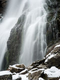 Waterfall from ravine in winter, long exposure Stock Photos