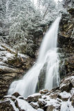 Waterfall from ravine in winter, long exposure Royalty Free Stock Photo